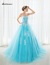 Modest Strapless Ball Gown Wedding Dress With Court Train Plus Size Ice Blue Bridal Gowns vestido