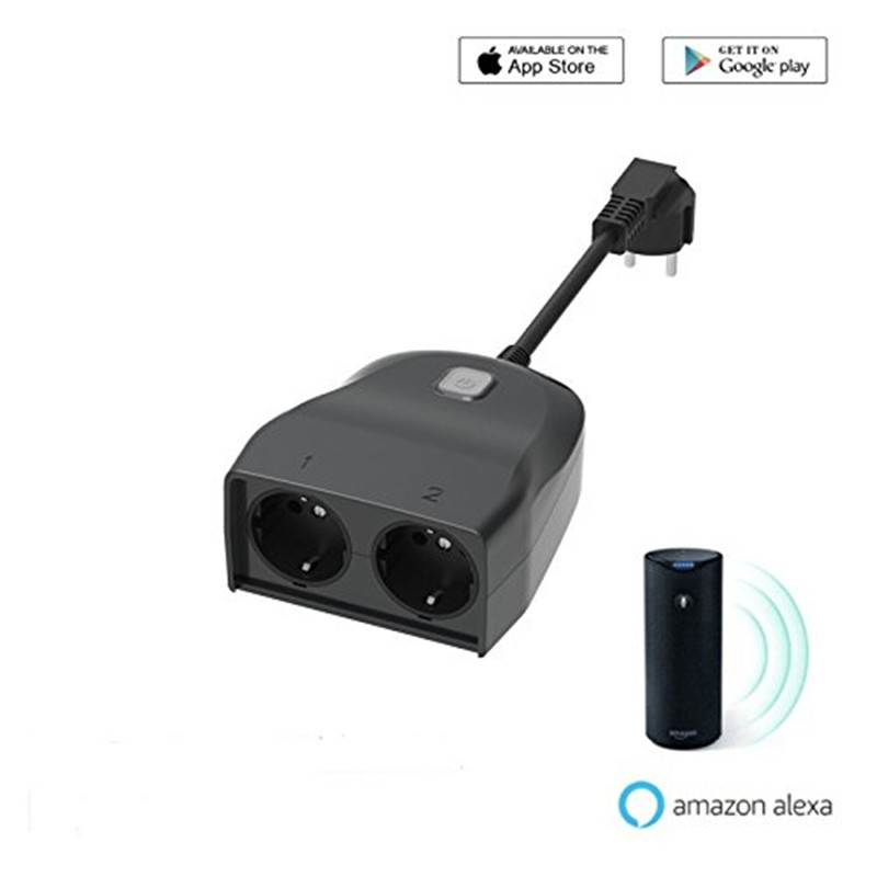 US $27 34 25% OFF|Outdoor WiFi Smart Plug Weatherproof Smart Socket  Wireless 1 In 2 Out Single Remote Control Switch Lights Timer Indoor EU  Plug-in