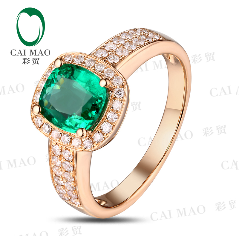 Caimao Cushion Cut Emerald Halo Pave Diamonds 18K Yellow