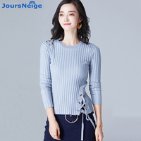 Knitted Pullovers Women Tops 2017 New Autumn O Neck Tie Fashion Design Pull Femme Jumper Knitwear