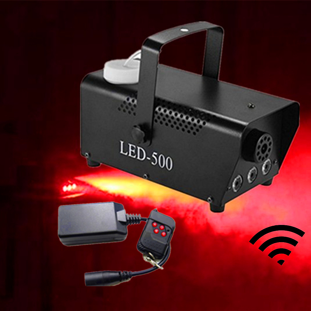 Red Color 500W Smoke Machine/Wireless Remote Control 500W LED Fog Machine/Fogger With 3pcs Red LED Lights For Disco Home Party Stage Lighting Effect     - title=