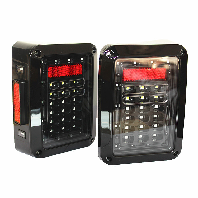 2х 07-16 Wrangler из светодиодов прозрачные линзы задний сигнал поворота задние тормозные огни заднего хода ( два встроенных задние фонари )