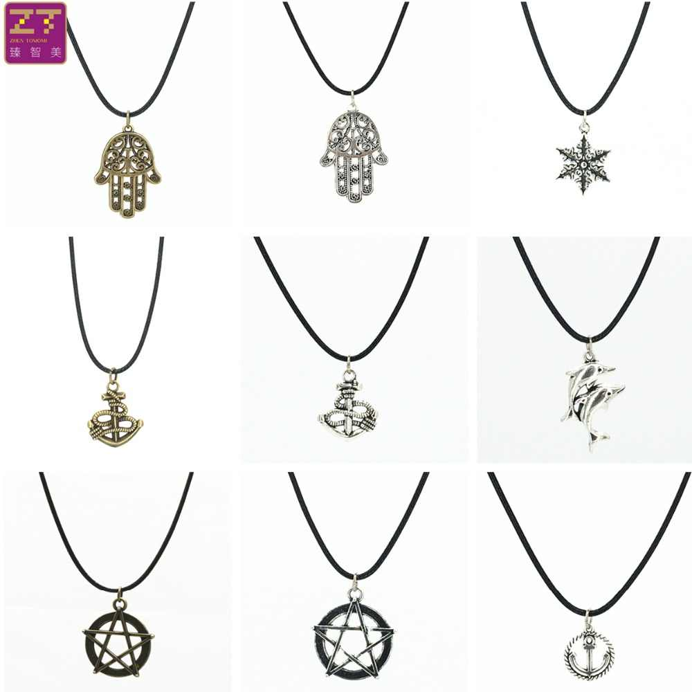 Fashion Chokers Necklaces Vintage Retro Dolphin Five-pointed Star Snowflake Hand Pendant Necklace for Women 2019 Jewelry Bijoux