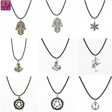 Fashion Chokers Necklaces Vintage Retro Dolphin Five-pointed Star Snowflake Hand Pendant Necklace for Women 2018 Jewelry Bijoux(China)