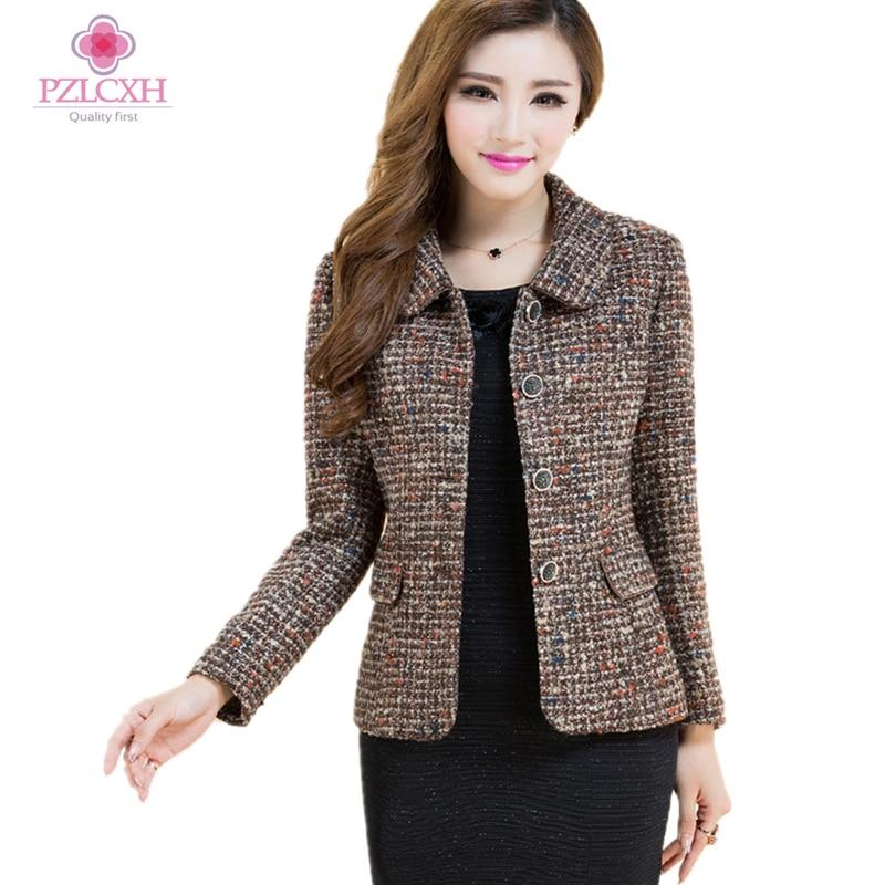 PZLCXHNew For Women Wool Coat Winter Autumn 2017 Fashionable Elegant Plaid Woolen Tweed OuterwearShort Thick Jacket 4XL ZL0889