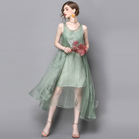 Long Party Dress New Chinese Silk Embroidery Pure Color Fried Dress Dress Summer Branches Red Green