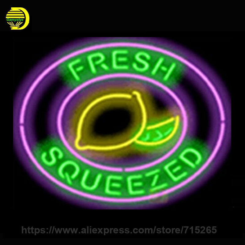 Fresh Squeezed Lemonade Neon Sign Glass Tube Neon Recreation Room Handcrafted Frame Sign Store Display Iconic Light Tube 24x20