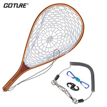 Goture Fly Fishing Net with Lanyard Rope Magnetic Buckle Casting Network Landing Net for Trout Bass Pike Fishing Accessories