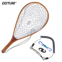 Goture Wooden Frame Fly Fishing Net Casting Network Rubber Mesh Hand Net with Lanyard Rope Magnetic Buckle Fishing Tackle