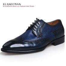 New Luxury Men Leather shoes,Men's Autumn Full Grain Leather Blue Dress Shoes,Men's High Quality Lace-Up Business Oxfords