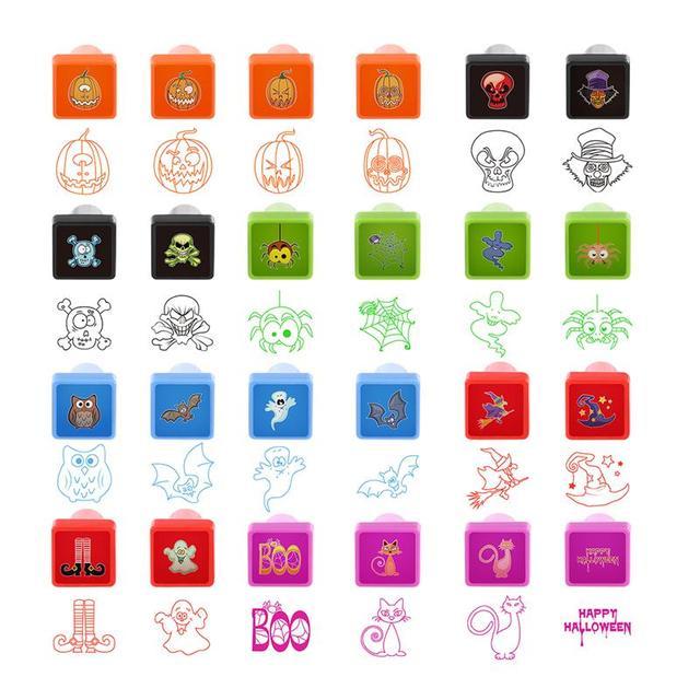 Sello de Halloween para Niños Sellos de tinta 24 Diseños Diferentes ...