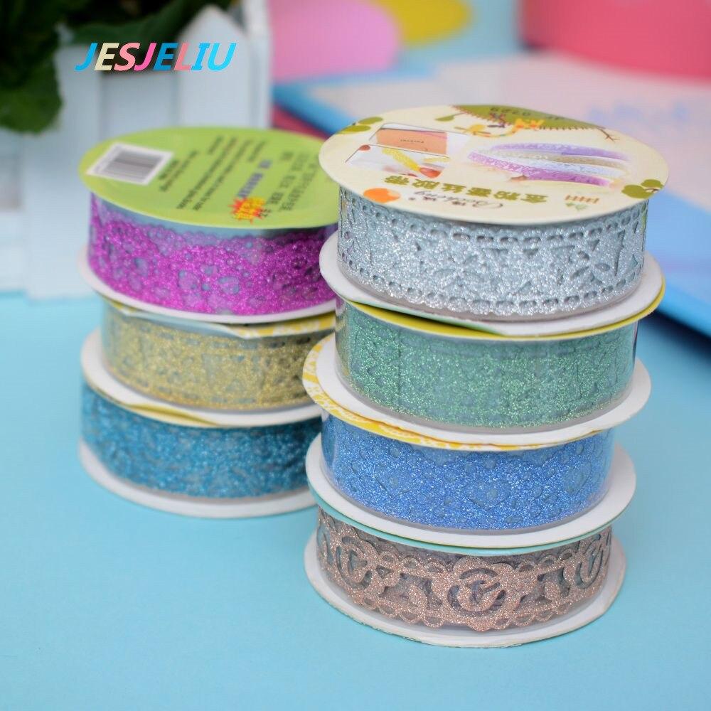 2Pcs/Set Beautiful Glitter Lace Sticky Paper Washi Tape Fashion Self-Adhesive DIY Tape Decoration Gift