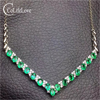 Elegant emerald necklace for evening party 15 pcs natural emerald silver necklace 925 silver emerald jewelry gift for woman
