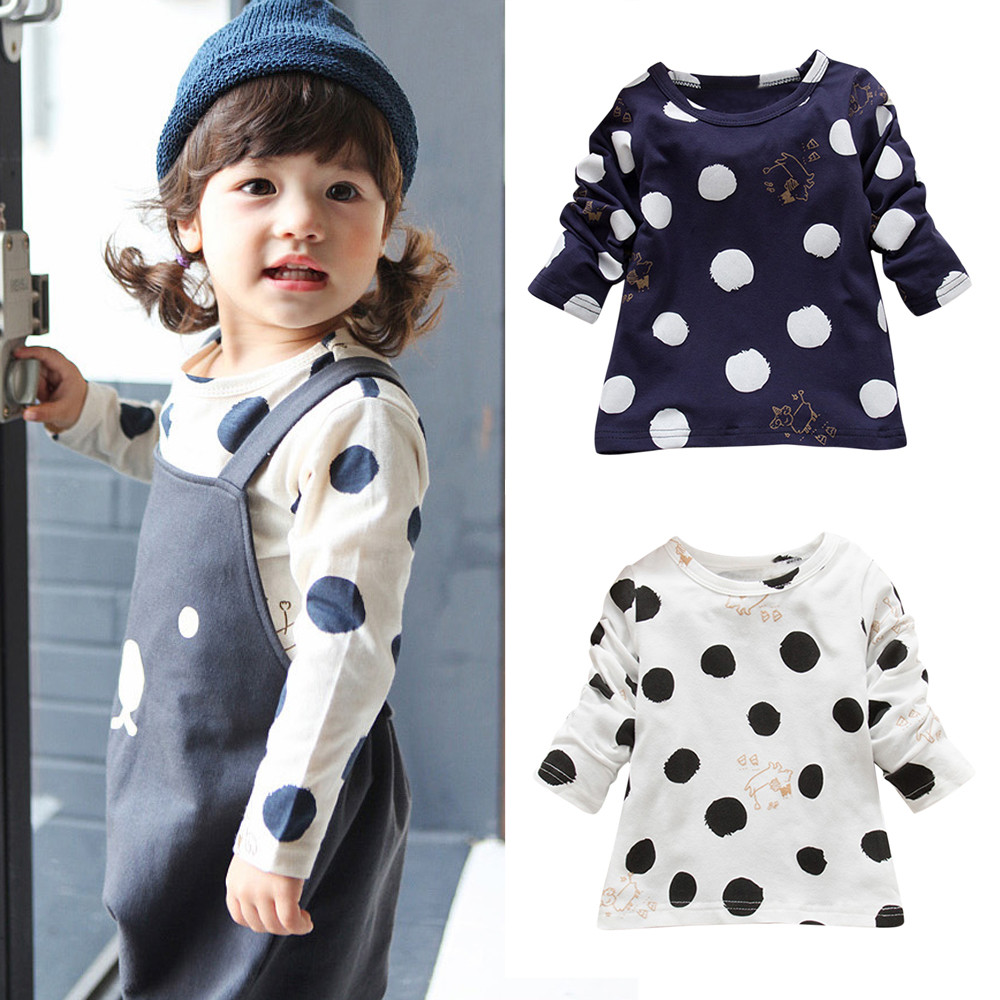 MUQGEW Kids Tops Clothing T-Shirt Long-Sleeve Toddler Girls Infantis Warm Dot 15 Menino