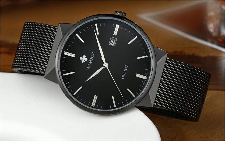 WWOOR Brand Luxury Men Waterproof Stainess Steel Casual Gold Watches Men's Quartz Sport Wrist Watch Male Clock relogio masculino 6