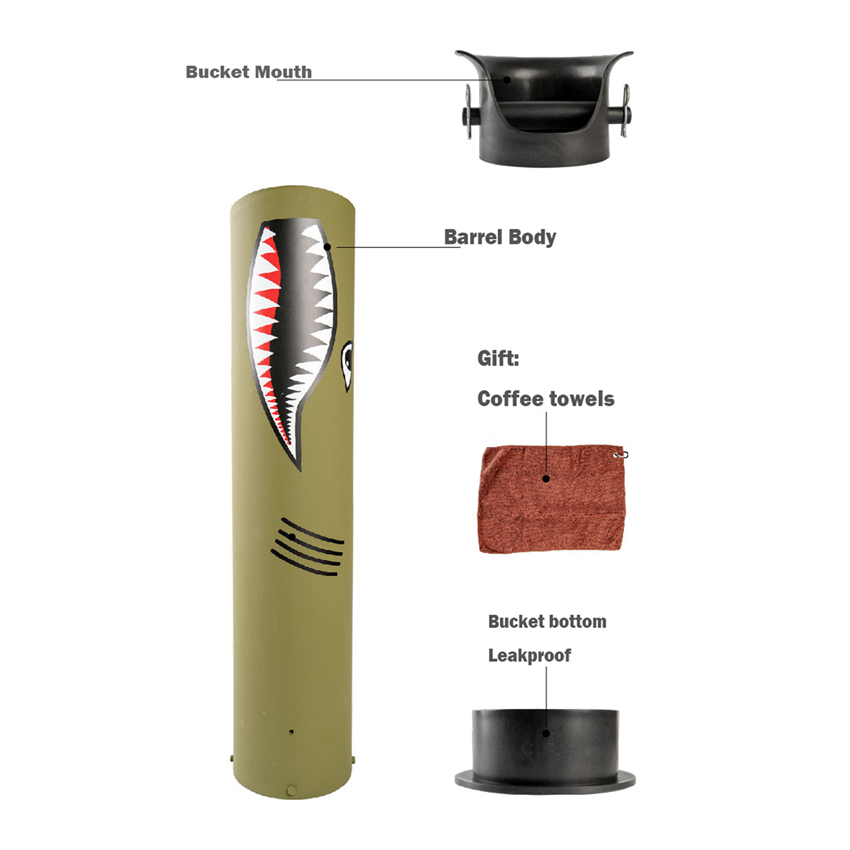 High-capacity Thicken Coffee Tamper Knock Box Deep Bent Design Coffee Slag isn't Splash Manual Coffee Grinder Coffee Accessories