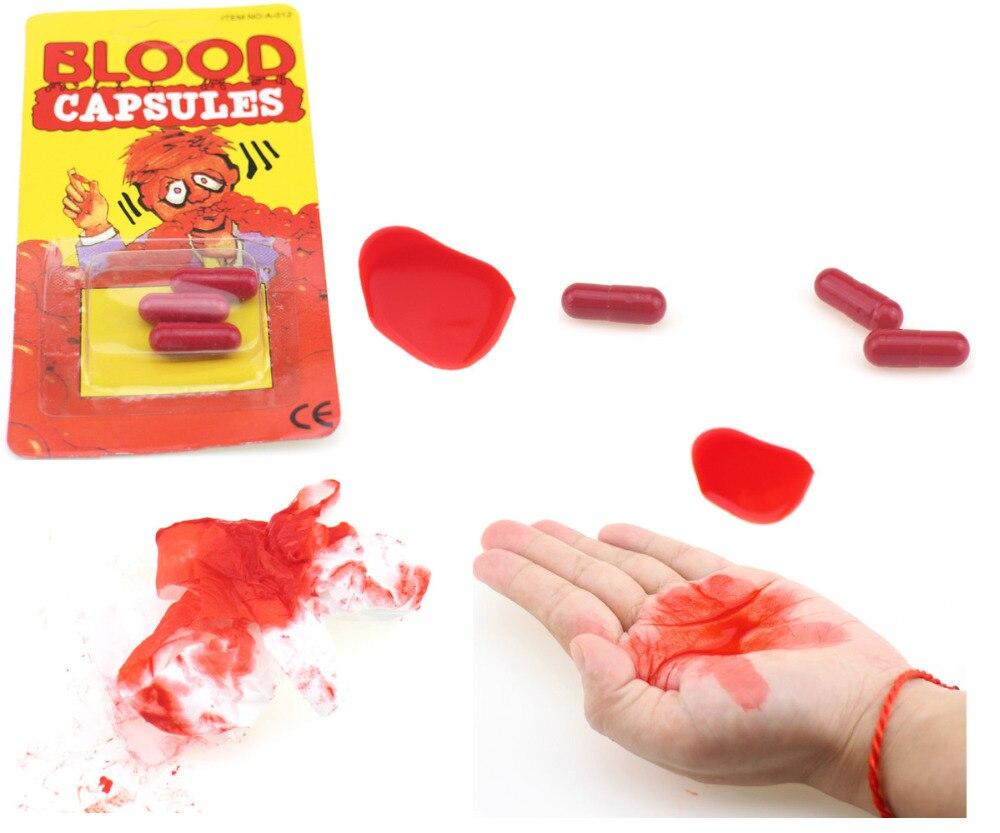 6 шт./лот рвота капсулы крови Поддельные крови таблетки нарядное платье вампира на Хэллоуин и День смеха шутка Ужасы шутки игрушечные лошадк... ...