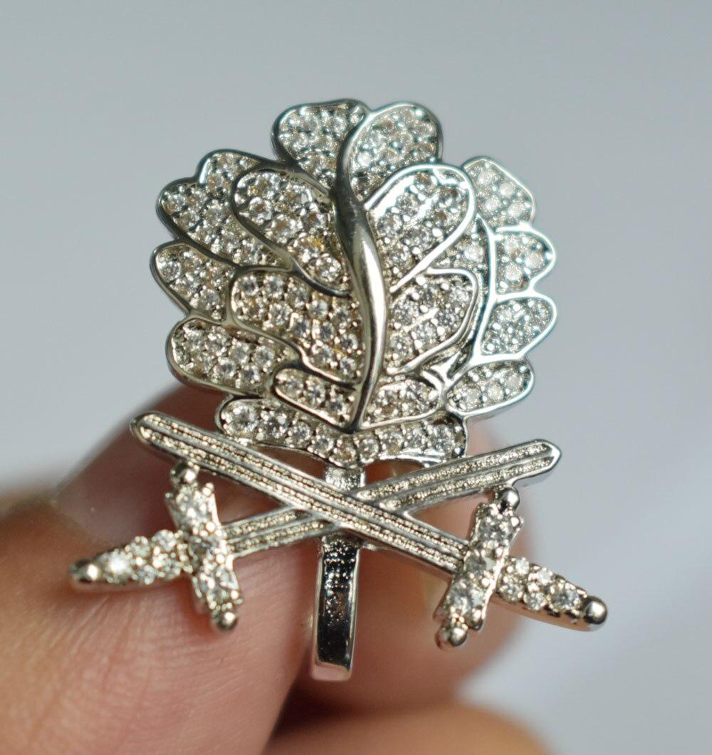 WWII allemand WH feuille de chêne épées diamants chevaliers fer croix argent-33913