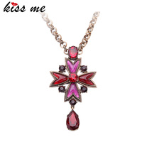 Latest Kiss Me Colorful Star Alloy Gold Chain Necklace Fashionable Girls Vintage Jewelry Pendant Necklace