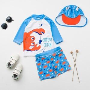 Image 3 - תינוק בגדי ים UV מוגן ארוך שרוול בגד ים יפה צפרדע הדפסת שתי חתיכות + כובע בני בגד ים ילדים שחייה בריכה בגדים