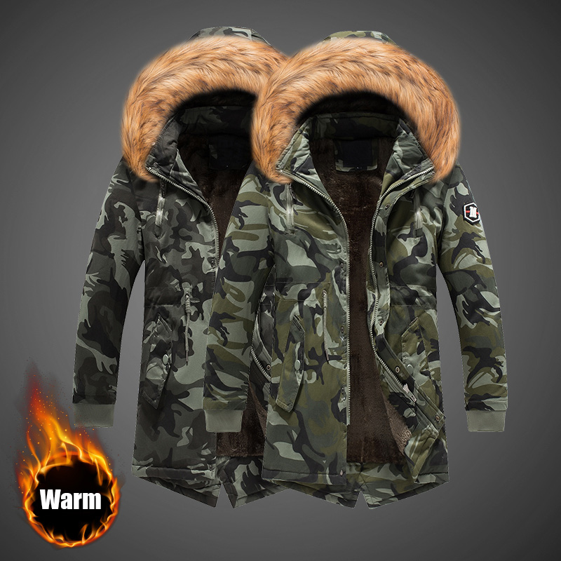 Fashion Winter Jacket Men Fur Collar Thick Warm   Parka   Men Hooded Outwear Camouflage Military Long Coat Velvet Trench Casual Tops