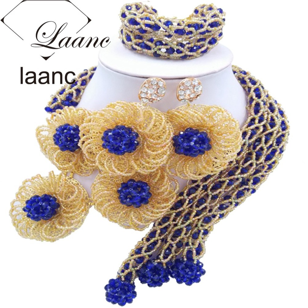 Royal Blue and Gold Crystal Beaded African Jewelry Set Dubai laanc AL045Royal Blue and Gold Crystal Beaded African Jewelry Set Dubai laanc AL045