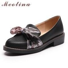 Купить с кэшбэком Meotina High Heels Loafers Shoes Women Platform Thick Heels Shoes Bow Round Toe Casual Shoes Female Spring Black Plus Size 34-43