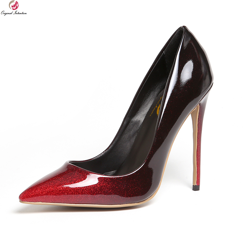 Original Intention Sexy Women Pumps Nice Pointed Toe Thin High Heels Pumps Grey Wine Red Gradient Shoes Woman Plus Size 3-10.5 comfy women pointed toe square high heels office shoes woman flock ladies pumps plus size 34 40 black grey high quality