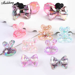 DIY Jewelry Transparent Colorful Bear Bowknot Beads Rabbit Head Homemade Kids Girl Hair Rope Accessory Fashion Luxury Korean(China)