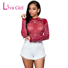 Liva Girl Black Sexy Rhinestone Plus Size T-Shirts Women Spring Long Sleeve Skinny Slim See Through Tops Mujer Clubwear S - XXXL