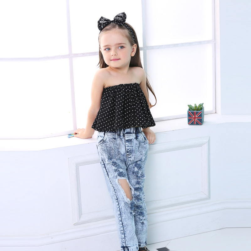 JKP 2018 European and American girls street wave point tube top hole denim pants suit children's clothing Children Sets TZ-05 point systems migration policy and international students flow