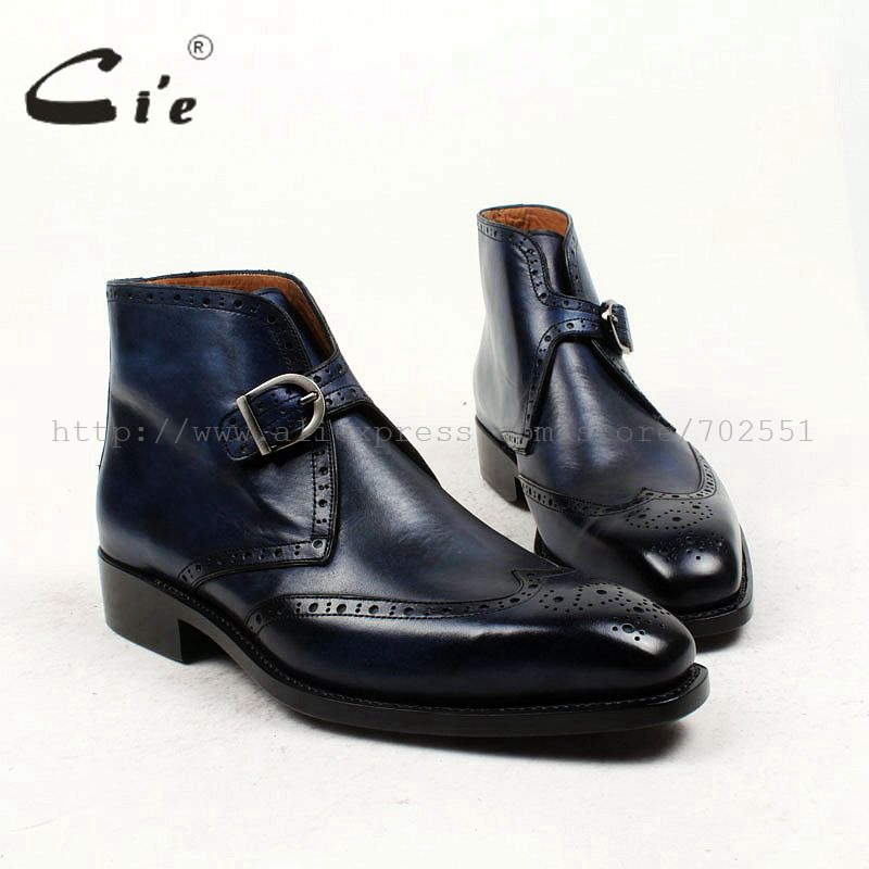 cie square toe full brogues medallion patina blue 100 genuine calf leather boot goodyear welted buckle