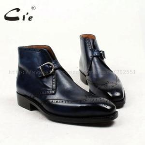 Image 1 - Cie מלא בוהן מרובע נעלי מדליון פטינה כחול 100% עור עגל אמיתי אתחול אתחול אבזם של גברים בעבודת יד גודייר דקות עטר A91