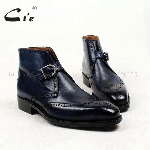 Cie מלא בוהן מרובע נעלי מדליון פטינה כחול 100% עור עגל אמיתי אתחול אתחול אבזם של גברים בעבודת יד גודייר דקות עטר A91