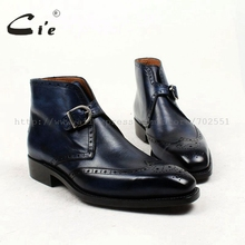 cie square toe full brogues medallion patina blue 100%genuine calf leather boot goodyear welted buckle handmade mens boot  A91