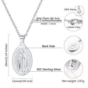 Image 3 - Breloques en argent Sterling 925, colliers avec pendentifs vierges de Mary, bijoux religieux chrétiens, chaîne croisée à la mode, pour femmes et hommes, SC118