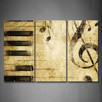 Framed Wall Art Pictures Note Piano'S Keys Paper Canvas Print Music Posters With Wooden Frame For Home Living Room Decor