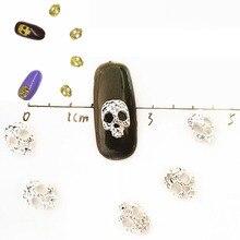 40Pcs Silver Skull Gold Nail Art Decorations 3d Metal Bling Charms Accesorios Cute NailArt Steam Punk Diy Manicure Supplies