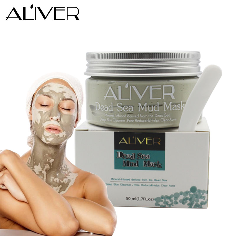 ALIVER Deep Skin Cleanser Dead Sea Mud Mask For Face Acne Oily Skin Mud Mask Face Skin Care крем uriage hyseac 3 regul global skin care for oily skin with blemishes