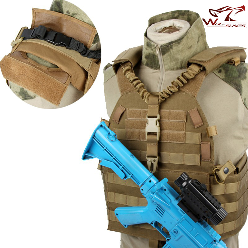 Ajustable militar táctico arma Sling de un solo punto de liberación rápida Rifle Bungee cinturón de hombro de caza Starp Airsoft M4 AR15