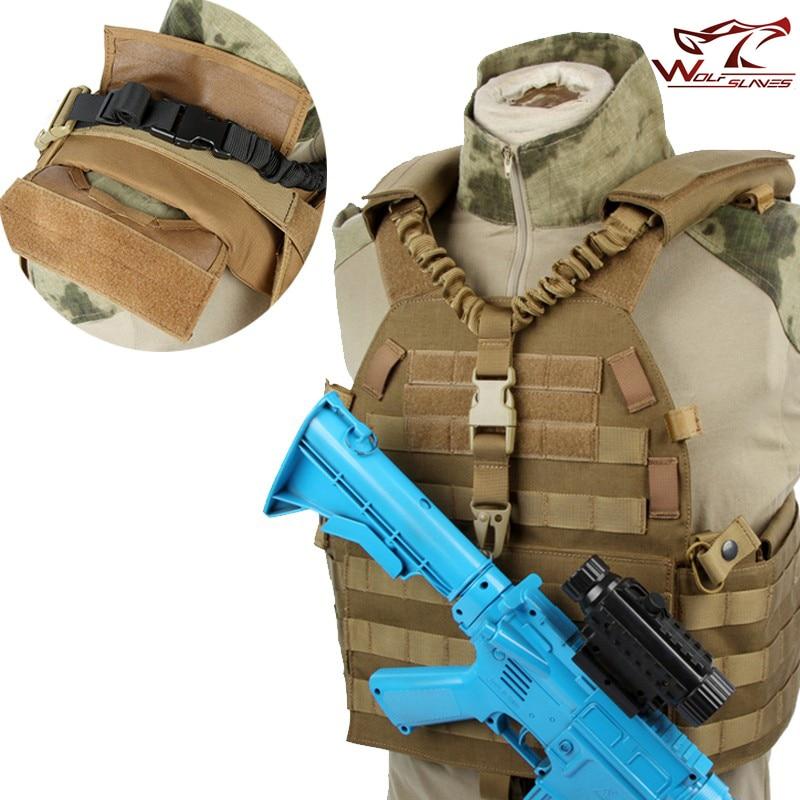 Militar Tático ajustável Bungee Rifle Gun Sling Ponto Único de Liberação Rápida Cinto de Ombro Starp de Caça Airsoft M4 AR15