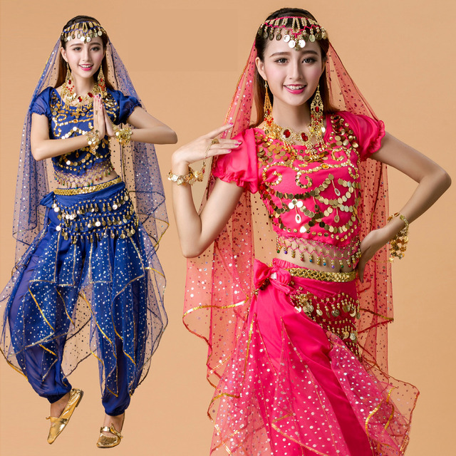 Amazing Plus Size 5pcs Set Belly Dance Costume Bollywood Costume Indian Dress  Bellydance Dress Womens Belly Dancing Costume Sets 6 Color