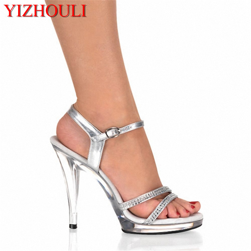 13 cm Sexy Platforms Shoes 5 Inch high heeled shoes Clear Crystal Sandals