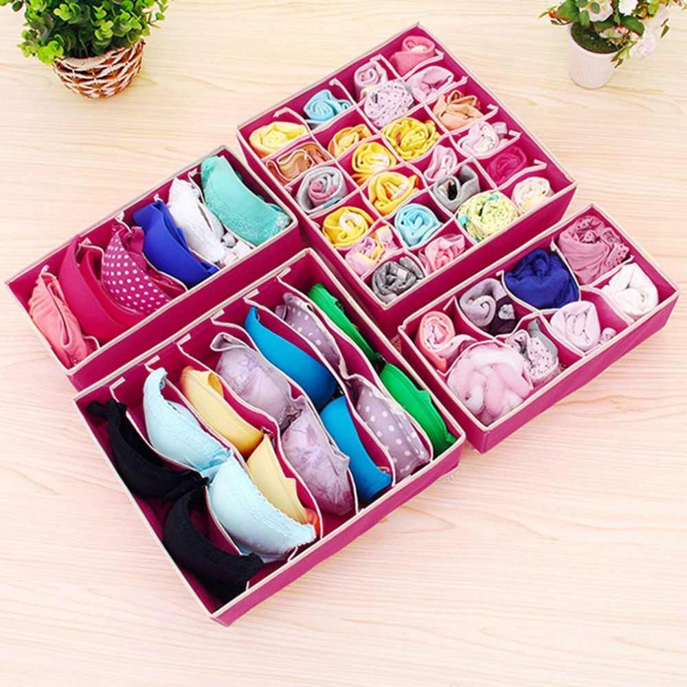 4 Pcs Practical Storage Box Container Drawer Divider Lidded Closet Boxes For Ties Socks Bra Underwear Storage Organizer