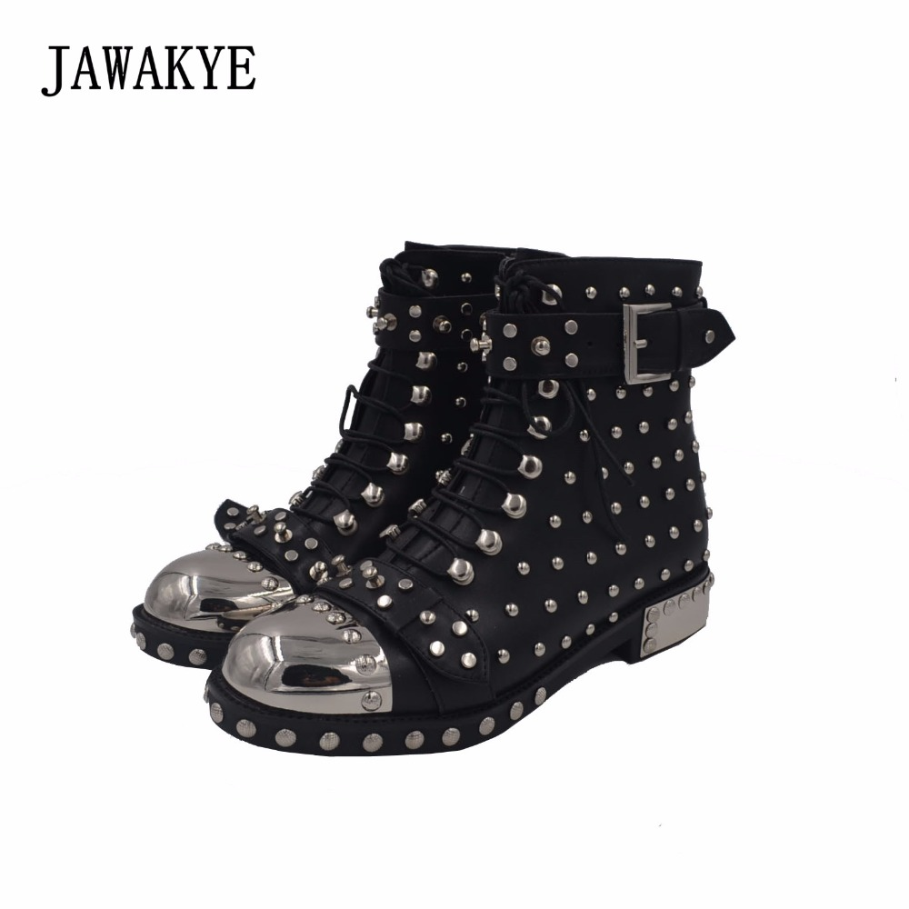 JAWAKYE Silver Metal Round Toe Rivets Women Boots Studded Buckle Leather Ankle Boots Woman Gladiator Winter Flat Boots Mujer jawakye round toe silver chains studded ankle boots women flat heel genuine leather winter shoes motocycle boots for women