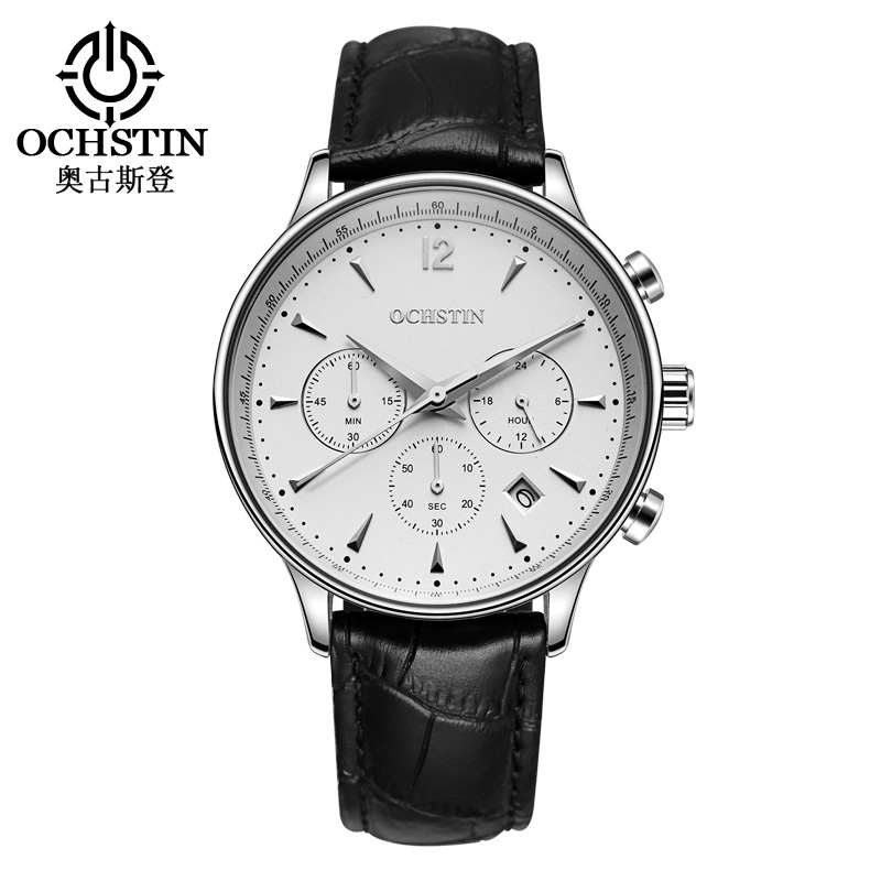 2018 Mens Watches Top Luxury Waterproof Chronograph Watch Man Sport Quartz Wrist Watch Men Clock Male Leather Band Fashion mens watch top luxury brand fashion hollow clock male casual sport wristwatch men pirate skull style quartz watch reloj homber