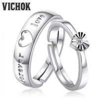 VICHOK Heart Forever Love 925 Sterling Silver Platinum Plated Finger Ring For Women Men Wedding Jewelry