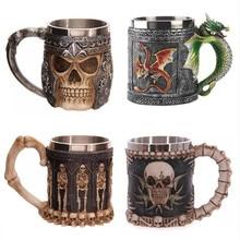 Neue Lustige Cool Edelstahl Kaffeetassen 3D Schädel Piraten Ritter Trinken Tee Milch Tasse Griff Kreative Copo