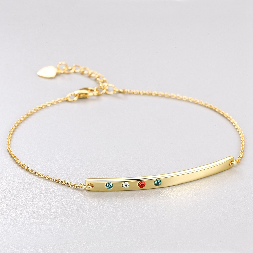 14k Yellow Gold Uses Austria Bracelet Colorful Crystal Bracelet Glod European and American Luxury Lady S925 Silver Bracelet.