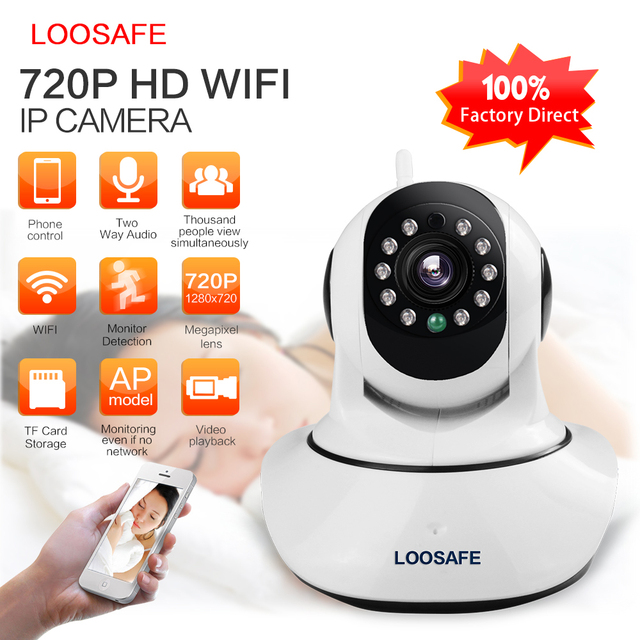 Loosafe hd 720 p câmera ip sem fio wifi onvif rede de sistemas de alarme de segurança em casa câmera ip de vigilância por vídeo de visão noturna